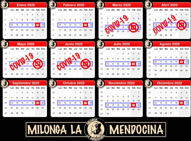 Calendario Milonga la Mendocina 2020